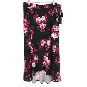 NEW Lane Bryant floral print faux wrap skirt hi lo
